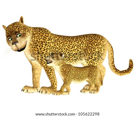 Illustration of a happy leopard family isolated on a white background
