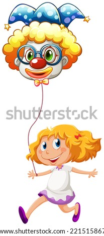 Illustration of a happy little lady with a clown balloon on a white background