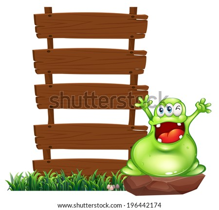 Illustration of a happy monster above the rock beside the empty wooden signboards on a white background