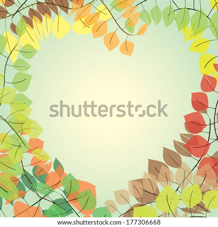 illustration of a heart-shaped branches with colorful leaves - stock photo