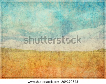 Illustration of a highly faded and worn, background texture with overlayed landscape like drawn scene.