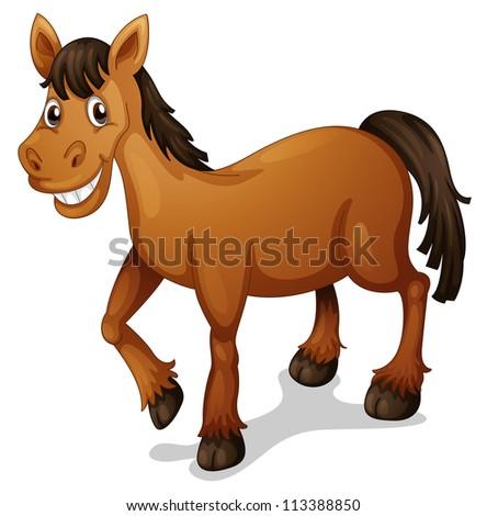 Illustration of a horse cartoon on white - stock photo