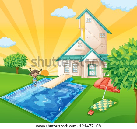 illustration of a house and a girl in a beautiful nature - stock photo