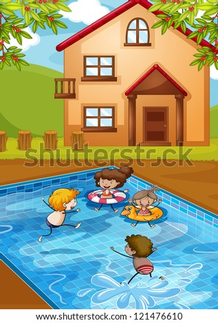 illustration of a house and kids in a beautiful nature - stock photo