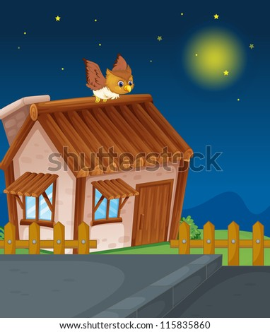 illustration of a house and owl in night - stock photo