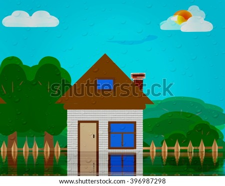 illustration of a house flooded water - stock photo