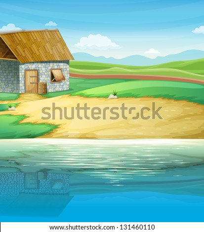Illustration of a house near the river - stock photo