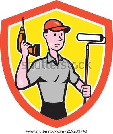 Illustration of a house painter handyman holding paint roller and cordless drill set inside shield crest on isolated background done in cartoon style.