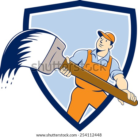 illustration of a house painter handyworker holding giant paintbrush viewed from front set inside shield crest on isolated background done in cartoon style. - stock photo