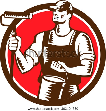 Illustration of a house painter holding paint roller and paint can looking to the side set inside circle on isolated background done in retro woodcut style.  - stock photo