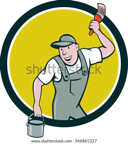 Illustration of a house painter wearing hat holding paintbrush and can bucket of paint looking to the side smiling set inside circle on isolated background done in cartoon style.