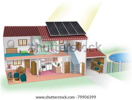 illustration of a house with a solar pane - stock photo