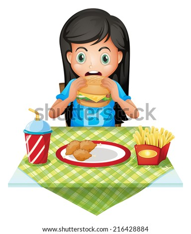 Illustration of a hungry girl eating at a fastfood restaurant on a white background - stock photo