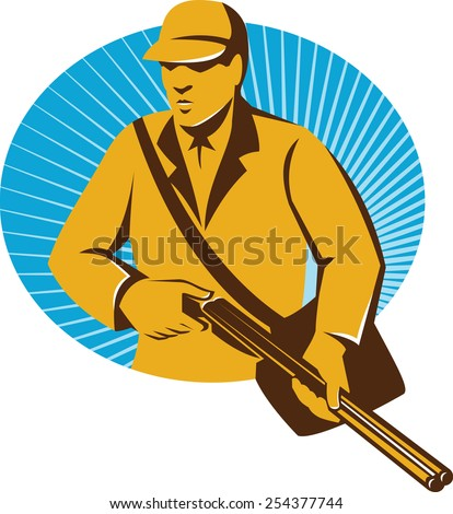 Illustration of a hunter hunting holding shotgun rifle set inside circle oval with sunburst in the background done in retro style.
