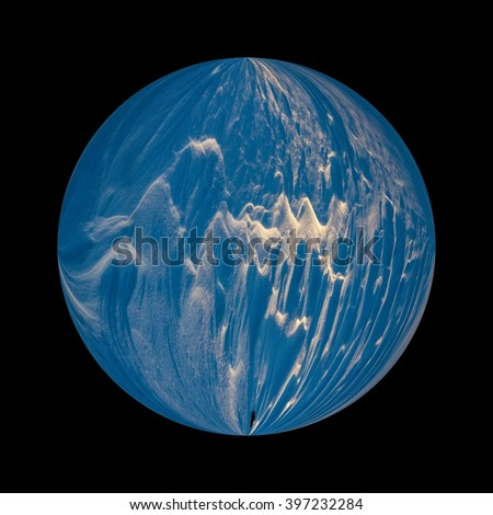 Illustration of a icy planet covered in snow and ice in deep space