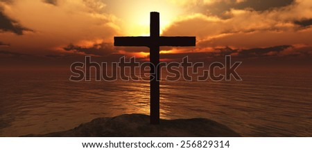 illustration of a island and wood cross - stock photo