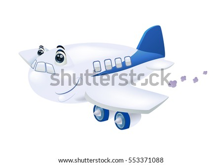 Illustration of a jet plane flying away to destination on isolated white background