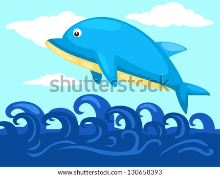 Illustration of a jumping dolphin  (EPS vector version id 130016879,format also available in my portfolio)
