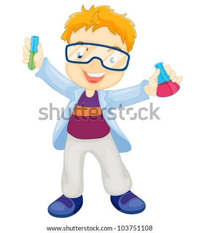 Illustration of a kid scientist - EPS VECTOR format also available in my portfolio. - stock photo