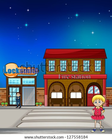 Illustration of a kid standing before a locksmith and fire station - stock photo
