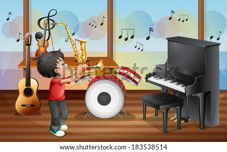 Illustration of a kid with musical instruments - stock photo