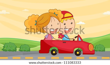 illustration of a kids in car on road
