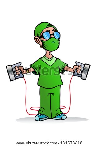 illustration of a kind and friendly doctor ready to use heart pacemaker machine on a patient - stock photo