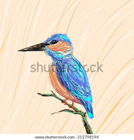 Illustration of a kingfisher bird sitting on a branch on a pastel background - stock photo