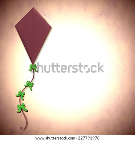 Illustration of a kite on paper background with space for writing text or photo - stock photo
