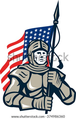 Illustration of a knight in full armor holding usa american flag viewed from front set on isolated white background done in retro style.