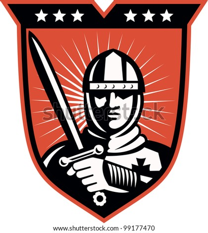 Illustration of a knight warrior crusader with long sword set inside shield done in retro style. - stock photo