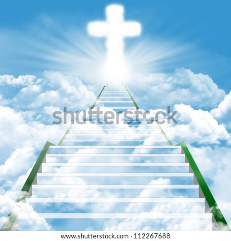 Illustration of a ladder leading upward to heaven - stock photo