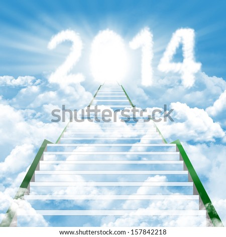 Illustration of a ladder leading upward to the new year 2014 - stock photo