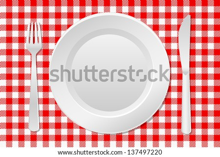 illustration of a laid table with an empty plate and checkered tablecloth