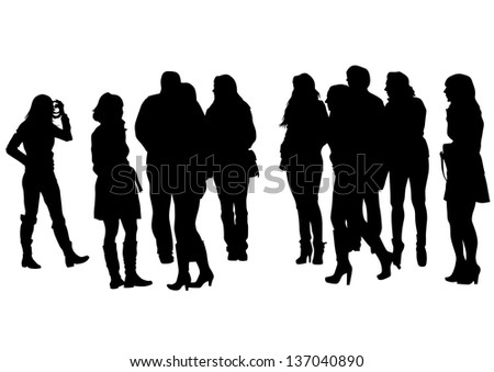 illustration of a large crowd of young girls - stock photo