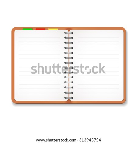 Illustration of a leather notebook with spiral,  colorful tabs, blank lined paper - stock photo