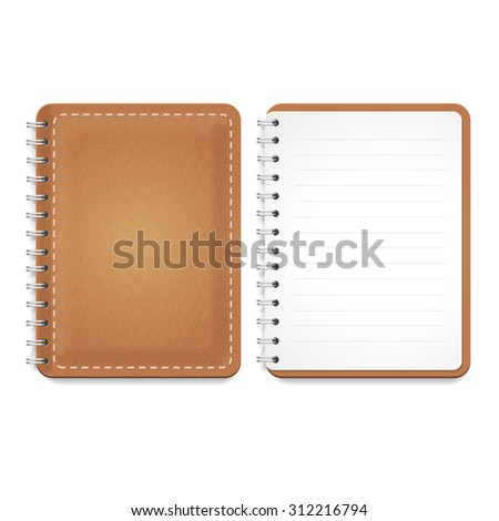 Illustration of a leather notebook with spiral, opened notepad with blank lined paper and front cover.  isolated on white. - stock photo