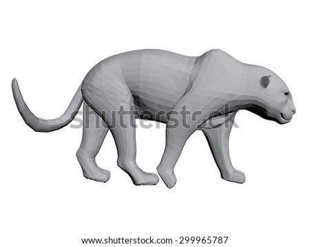 Illustration of a leopard. 3D. Isolated.