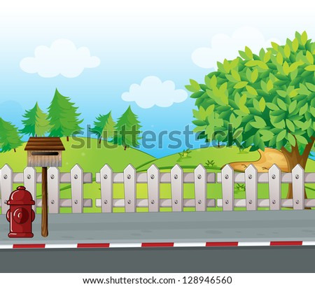 Illustration of a letter box and a fire hydrant on a roadside