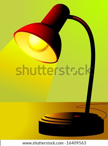 Illustration of a lighted table lamp