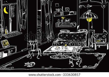 Illustration of a living room with carpet, furniture and sleeping cat