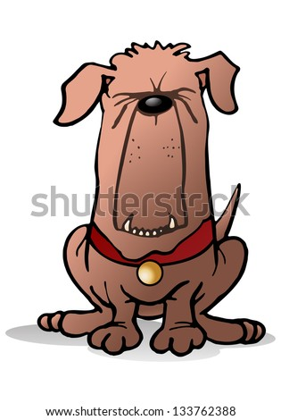 illustration of a loyal  brown scary guard dog sit over isolated white background - stock photo