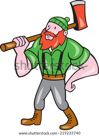 Illustration of a  lumberjack holding an axe on shoulder looking up to side on isolated background done in cartoon style.