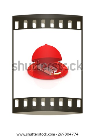 Illustration of a luxury gift on restaurant cloche on a white background. The film strip - stock photo