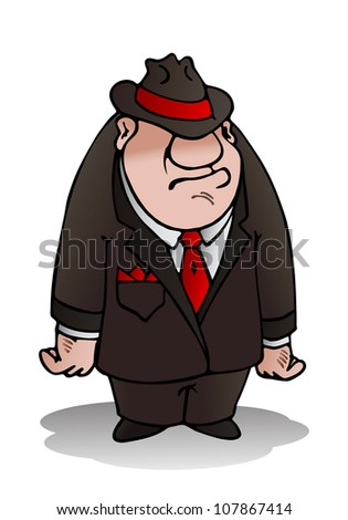 illustration of a mafia man standing on isolated white background - stock photo