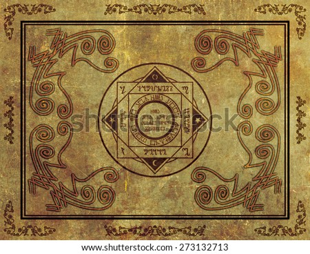 Illustration of a magical symbol design on parchment paper background.