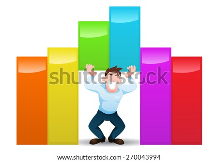 illustration of a male businessman lift up colorful growth chart on isolated white background - stock photo