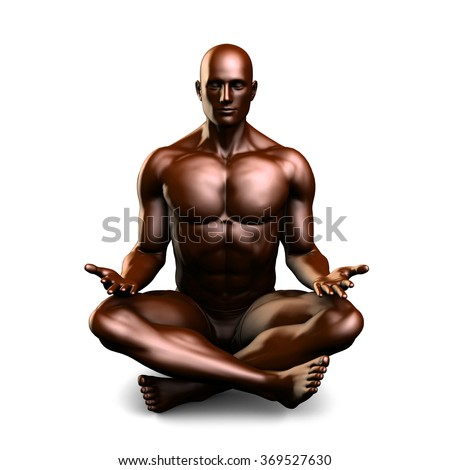 Illustration of a Male Figure Meditating in 3d - stock photo