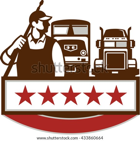 Illustration of a male pressure washing cleaner worker holding a pressure water gun on shoulder looking to the side with truck and train in the background with stars set on isolated white background.  - stock photo