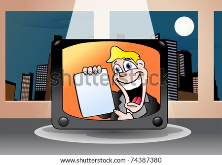 illustration of a male TV commercial presenter on television  holding blank bulletin - stock photo